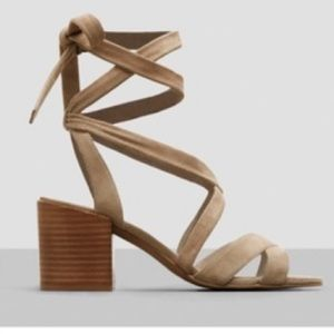 Kenneth Cole tan tie up strappy block heel sandal